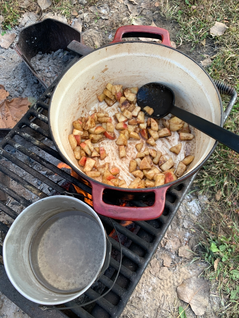 Caramelizing apples over campfire