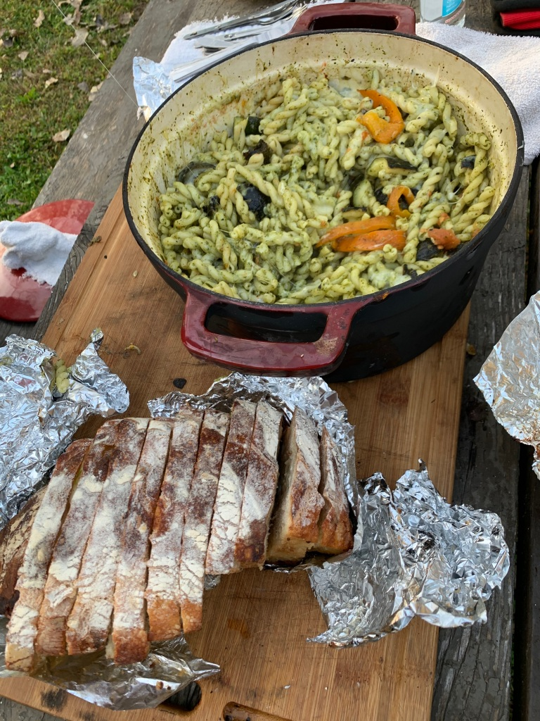 one pot pasta, dutch oven, no-knead bread, garlic bread, campfire cooking, gemelli pasta