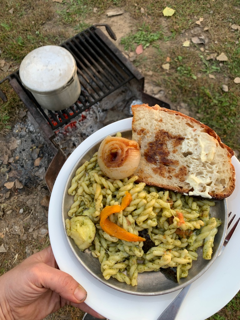 campfire cooking, pasta, gemelli pasta, campfire garlic toast, no-knead bread, vidalia onion, fire roasted vegetables
