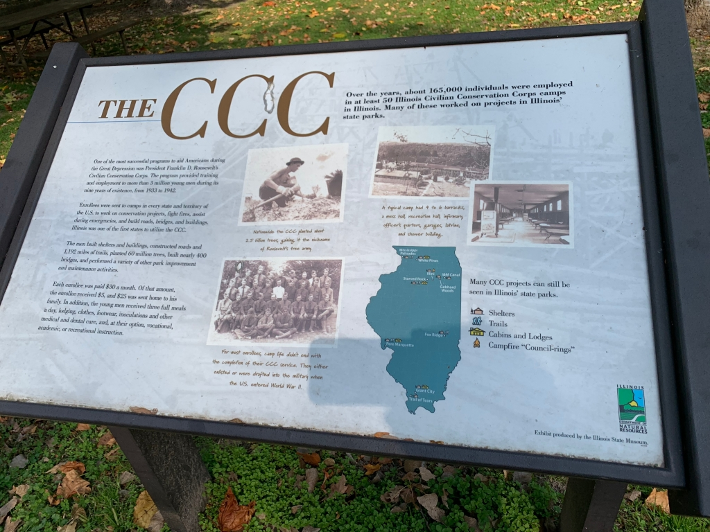 state parks, civilian conservation corps, camping, hiking, illinois state map