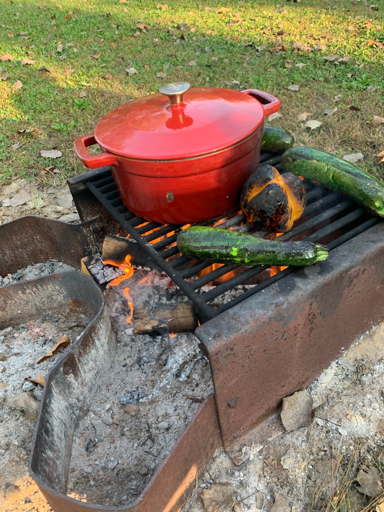 Campfire, fire roasted veggies, dutch oven, red enamel dutch oven, zucchini, peppers