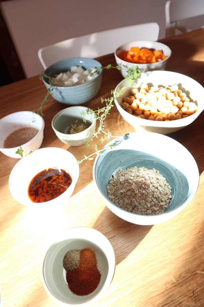 food prep for veggie burgers, chickpeas, oats, spices, flax eggs